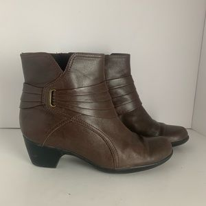 Clarks brown leather ankle boots